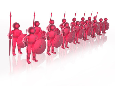 Red soldiers with on white reflective background, 3D illustration.