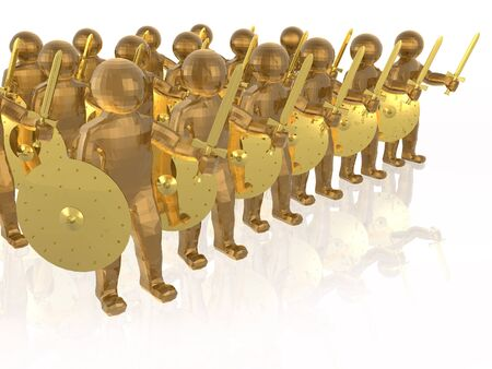 Brown soldiers on white reflective background, 3D illustration. Stock Photo