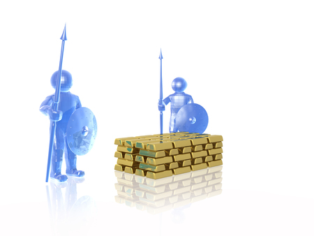 Blue armed mans with gold on white background, 3D illustration.