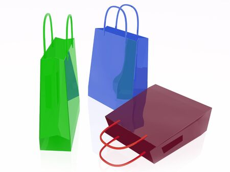 Shop bags on white background, 3D illustration. Stock Photo