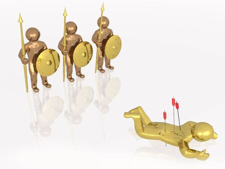 Gold and brown warriors, white background, 3D illustration.
