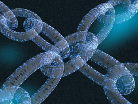 Chains with digital links, space background, 3D illustration.