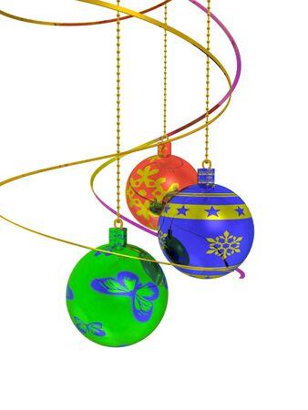 Christmas balls against the white background, 3D illustration.