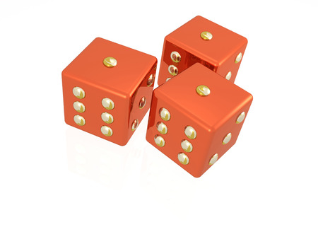 Three red dies on the white background, 3D illustration.