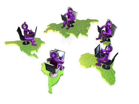 Violet mans with laptops and continents on white background, 3D illustration.