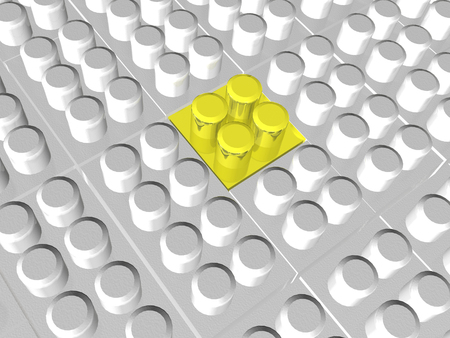 Yellow and grey meccano as abstract background, 3D illustration.