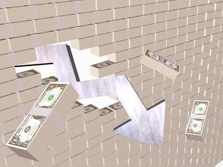 Broken money wall - world financial crisis allegory, 3D illustration.