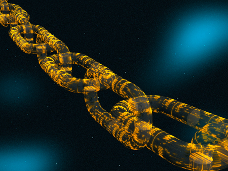 Chain with digital central link, space background, 3D illustration.