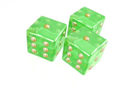 Green dice on white background, 3D illustration.
