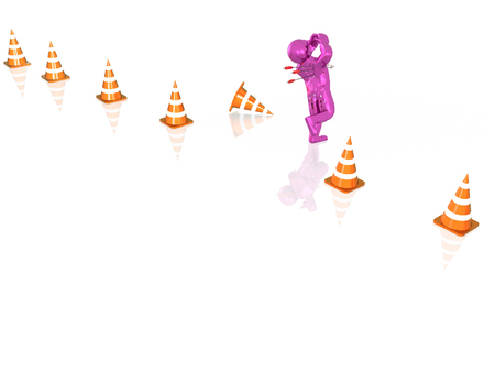Purple running man and arrows, white background, 3D illustration.