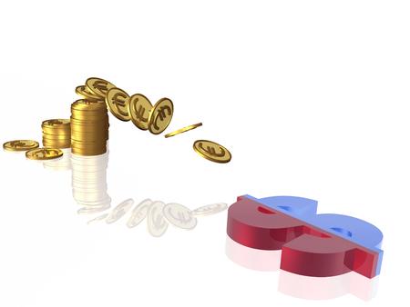 Money and magnet on white background, 3D illustration. Stock fotó