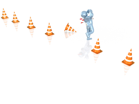 Blue running man and arrows, white background, 3D illustration.