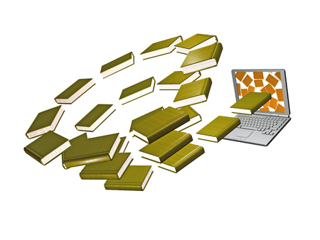 Books and laptop on the white background, 3D illustration. Stock Photo