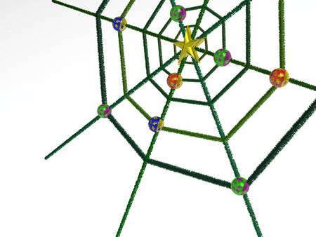 Christmas cobweb on white background, 3D illustration.