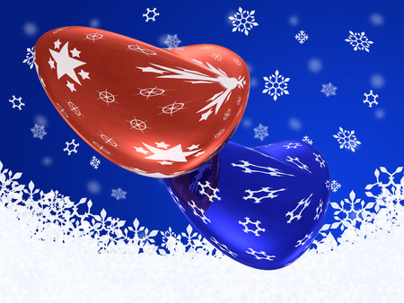 Red and blue hearts on abstract background, 3D illustration.