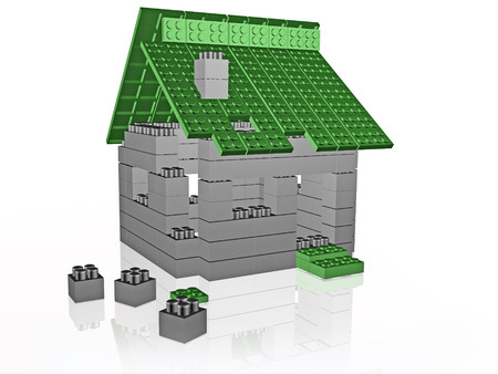 Grey and green meccano items and home on the white, 3D illustration. Stock fotó - 93403179