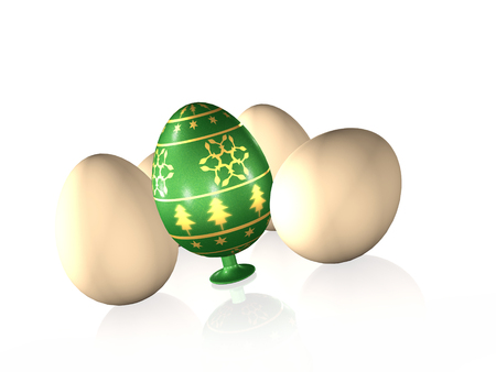 Easter and usual eggs on white reflective background, 3D illustration. Stock Photo