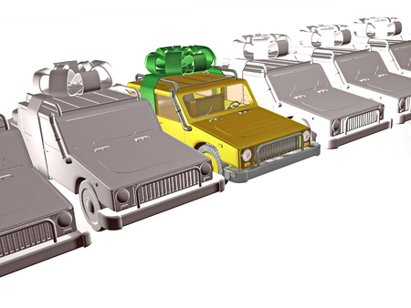 Gray cars and yellow car on white reflective background, 3D illustration.