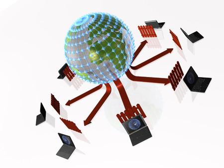 Network - notebooks and firewalled globe on black background, 3D illustration.