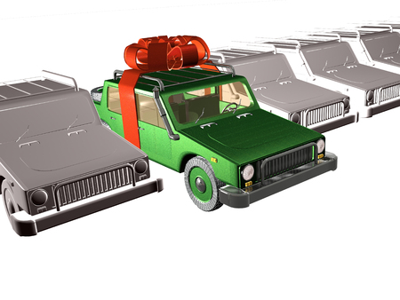 Gray and green cars on white reflective background, 3D illustration. Banco de Imagens