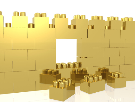 Gold meccano wall on the white background, 3D illustration. Stock fotó