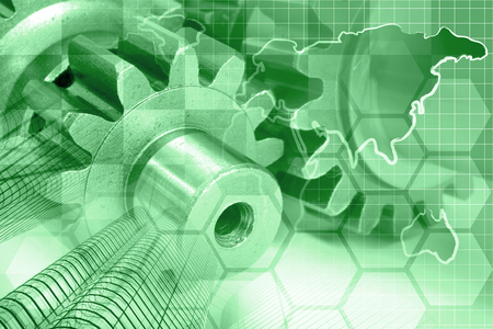 Business background in greens with map, gears and buildings.