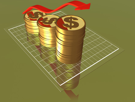 Money and arrow as business background, 3D illustration.