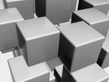 Grey cubes as abstract background, 3D illustration.