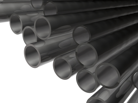 Grey pipes as abstract background, 3D illustration. Stock fotó