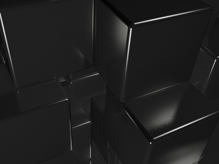 Black cubes as abstract background, 3D illustration.
