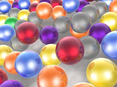 Color spheres as abstract background, 3D illustration. Stock Photo
