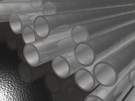 Grey pipes as abstract background, 3D illustration. 스톡 콘텐츠
