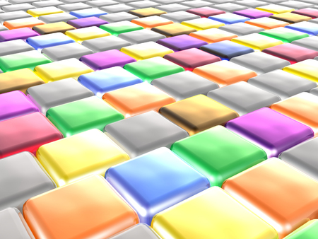 Color cubes as abstract background, 3D illustration.