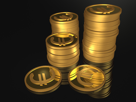 Money on black background, 3D illustration.