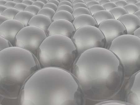 Grey spheres on white reflective background, 3D illustration.