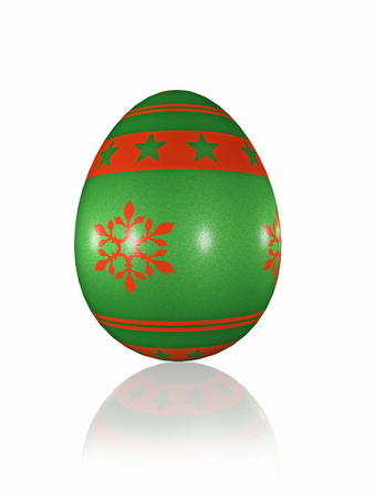 Easter egg on white rerlective background, 3D illustration. Reklamní fotografie - 96893231
