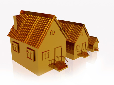 Three gold homes on white reflection background, 3D illustration. Фото со стока