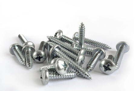 Set of screws on the white background. Standard-Bild - 97016984