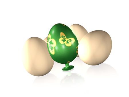 Easter egg and usual eggs on white rerlective background, 3D illustration. Stock Photo