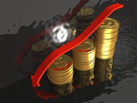 Dollar coins and arrow on black background, 3D illustration.