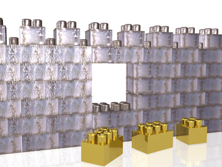 Meccano wall with breach on the white background, 3D illustration. Stock fotó - 97131439