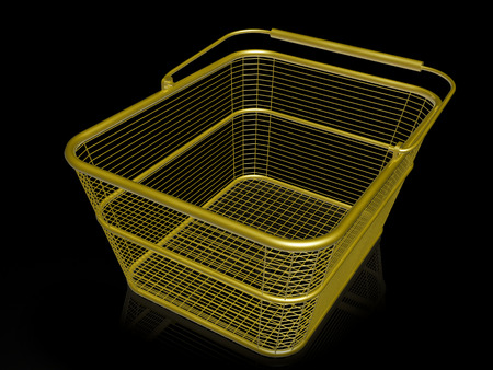 Shop basket on black background, 3D illustration.