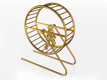 Man in the squirrel cage on white background, 3D illustration. Banco de Imagens