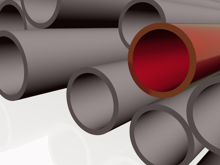 Red and grey pipes as abstract background, 3D illustration.