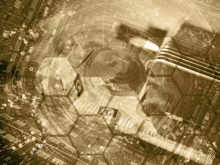 Globe and mans - abstract computer background in sepia.