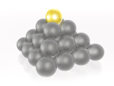 Yellow and grey spheres in the pyramid on white, 3D illustration.
