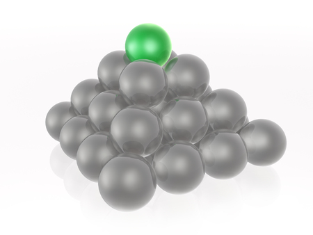 Green and grey spheres as abstract background, 3D illustration. Stock Photo