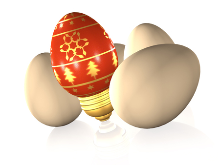 Easter and usual eggs on white reflective background, 3D illustration. Banco de Imagens