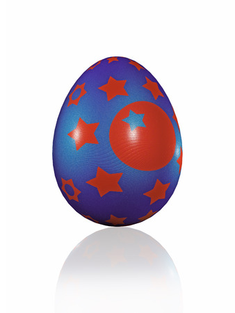Easter egg on white reflective background, 3D illustration.
