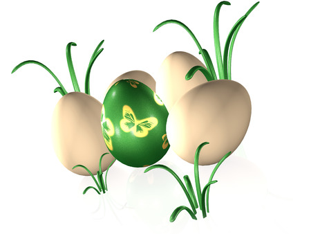 Easter eggs and grass on white reflective background, 3D illustration.